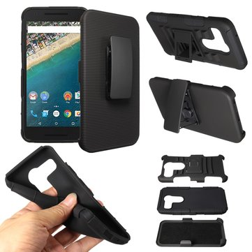 Hybrid Frame Slide Belt Silicone PC Hard Cover Case With Stand For LG Nexus 5X