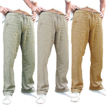 Mens Ethnic Style Cotton Comfy Breathable Straight Leg Pants
