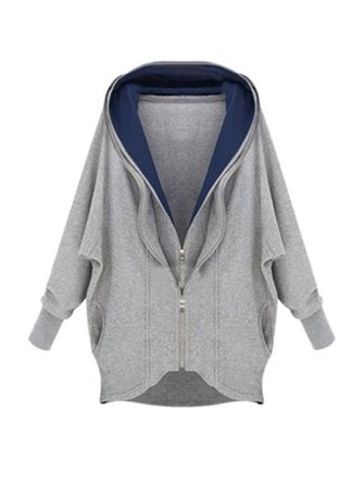 Casual Women Double Zipper Long Sleeve Irregular Patchwork Hooded Coat
