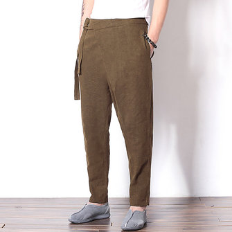 Mens Natioanl Cotton Linen Harem Pants