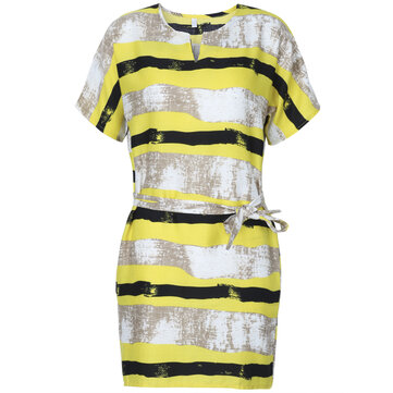 Casual Loose Women Stripe Printing Short Sleeve Dress With Belt
