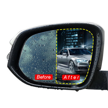 2Pcs Car Rear View Mirror Protective Film Nano Coating Rainproof Anti Fog 175x200mm