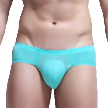 Mens Sexy Thin Ice Silk Soft Seamless Low Rise Casual Briefs