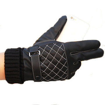 Motorcycle Driving Warm Whole Palm Touch Screen Gloves Black