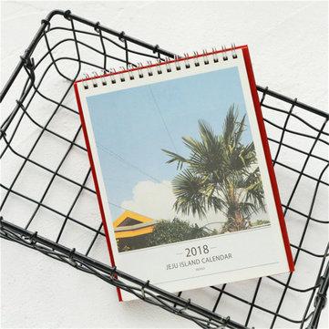 2018 Desk Standing Calendar JeJu Island Sightseeing Monthly Agenda Planner School Office Supplies