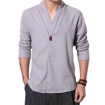 Chinese Style Cotton Linen V-neck T-shirts Men's Casual Breathable Solid Color Tops Tees