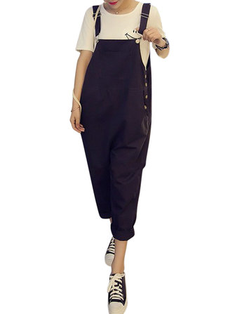 Casual Women Pants Loose Strap Jumpsuit Trousers