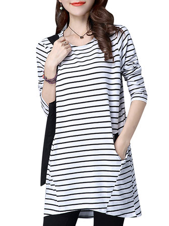 Casual Women Loose Long sleeve Striped Pockets Long T-Shirt