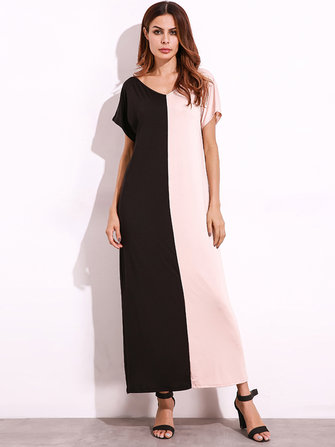 Casual Women Colorblock Patchwork Dresses