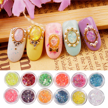 12 Colors Glitter Shell Chips Nail Art Decoration Powder Dust DIY Design Manicure