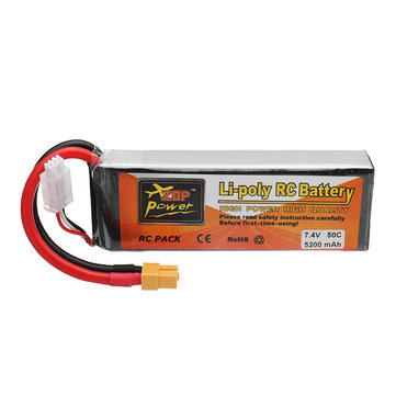 ZOP POWER 7.4V 5200mAh 50C 2S Lipo Battery XT60 Plug For 1/8 1/10 RC Car Flytec 2011-5 RC Boat