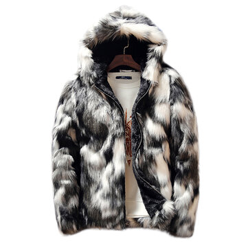 Mens Winter Faux Fur Thick Warm Hooded Casual Zipper Black White Jacket