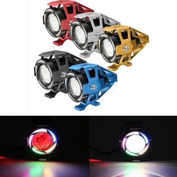 12-80V 125W U32 Motorcycle Angel Eyes Lights LED Headlight Fog Spot Driving Light