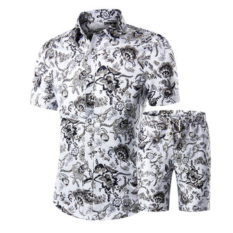 Mens Fashion Printing Summer Casual Fit Shirts Suit