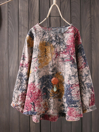 S-5XL Vintage Women Cotton Loose Color Print Long Sleeve Blouse