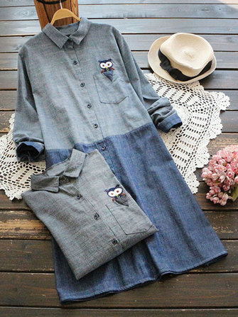 Owl Embroidered Patchwork Shirt Dress
