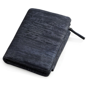 Genuine Leather Frequency Line Wallet Card Bag Coin Purse with SIM Card Holder for Men and Women