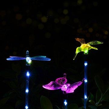 3pcsソーラーマルチカラーバタフライハチドリ蝶は、屋外ガーデンのLEDステークライト