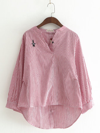 Rabbit Embroidered Button Back Blouse