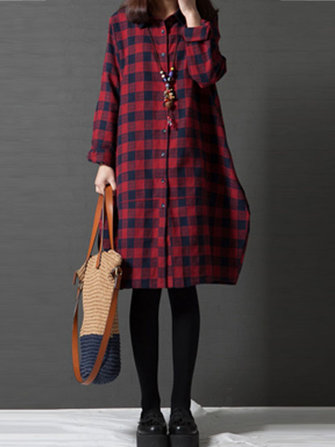 Casual Women Lapel Long Sleeve Button Up Tartan Dress