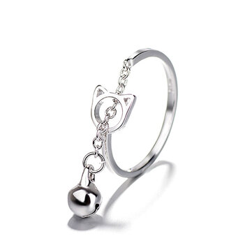 Fashion Platinum Plated Silver Ring Cat Bell Adjustable