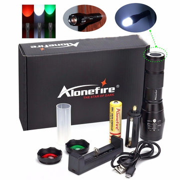 Alonefire G700-N T6 2000LM 5Modes Zoomable Red & Green & White Light LED Flashlight Signal Light Suit+18650+USB Charger