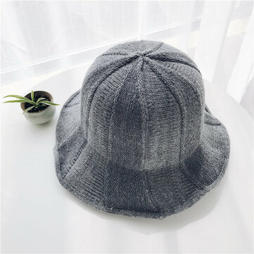 Women Solid Knit Fisherman Hat Winter Wide Brimmed Basin Cap