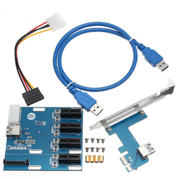 PCI-E 1X Expansion Kit 1 to 4 Ports Switch Multiplier Hub Riser Card USB 3.0 Cable