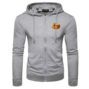Men's Halloween Design Zipper Fly Long Sleeve Pure Color Drawstring Fit Hooded Sweatshirt