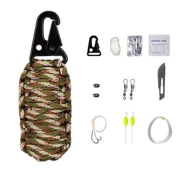 16Pcs Outdoor Paracord Kit Survival Rope Set Fishing Tools Camping Carabiner Emergency Gear