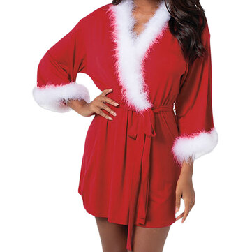 Christmas Robe Cloak Long Sleeve Patchwork Women Costume Party Dress