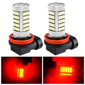 2pcs H11 2835 SMD Red LED Fog Light Daytime Running Light Bulb with Lens Aluminum Housing