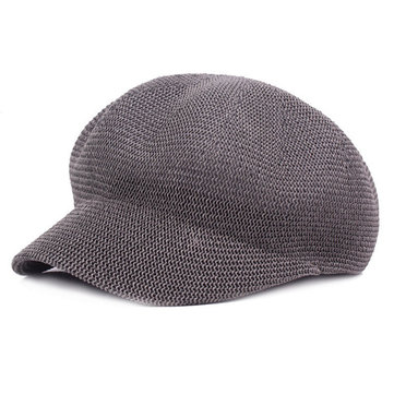 Women Mesh Octagonal Cap Solid Hollow Forward Hat Summer Leisure Sunshade Hats