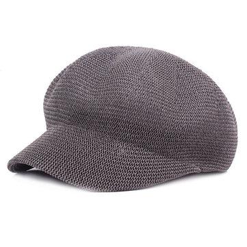 Femmes Maille Capuchon octogonale Chapeau solide Hollow Forward Chapeaux parasol loisirs d'été