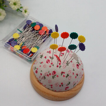 50Pcs Sewing Accessories Patchwork Pins Flower Sewing Pin Fixed Color Positioning Needle With Box