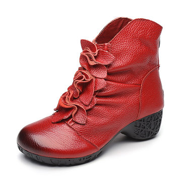 SOCOFY Retro Ankle Floral Zipper Soft Leather Boots