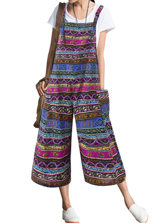 Women Patchwork Bohemian Sleeveless Pocket Jumpsuit