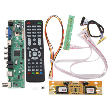 V56 Universal TV LCD Driver Board PC / VGA / HD / USB Interface + 4 Lamp Inverter + 30pin 2ch-8bit Lvds Cable