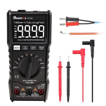 MUSTOOL MT109 Portable 9999 Counts True RMS Multimeter AC DC Voltage Current NCV Temperature Tester Auto Range Backlight and Flashlight With Black EBTN Screen