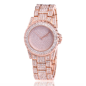 DEFFRUN Luxury Ladies Bling Watches Fashion Women Diamond Rhinestone Wristwatch Quartz Watch