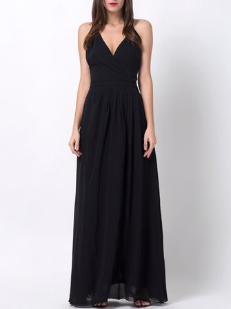 Backless sexy nero Spalato Hem V-collo Abiti Maxi