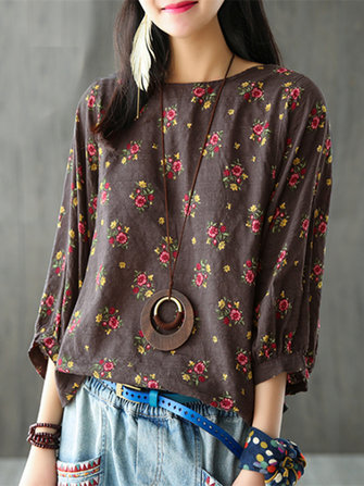 M-5XL Floral Printed Blouse