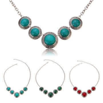 Vintage Tibet Alloy Antique Silver Plated Turquoise Pendant Necklaces