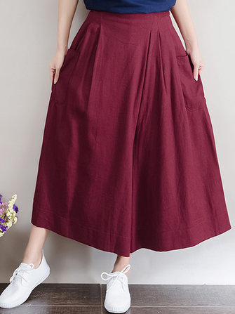 Casual Women Pockets Elastic Wide Leg Pants