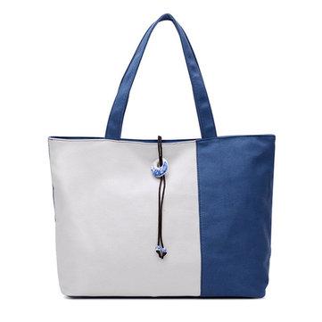 Женщины контраст цвета холст сумки тотализатора случайные синий и белый фарфор емкость сумки для покупок