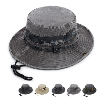 Washed Cotton Wide Brimmed Bucket Hat Solid Visor Fishing