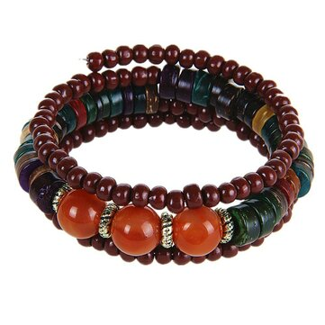 Bohemia Multilayer Wood Resin Tibetan Buddhist Bead Bracelet
