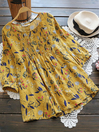 Floral Print Pleated 3/4 Sleeve Blouse
