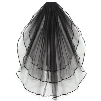 3 Layers Bride Ivory White Wedding Bridal Short Satin Edge Veil With Comb