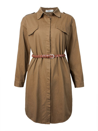 Casual Women Single Breasted Solid Lapel Long Sleeve Trench Coat With Belt